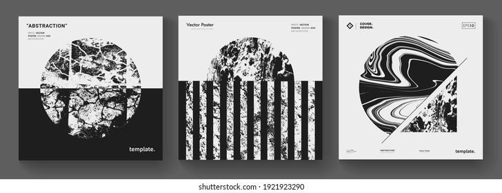 Modern minimal background. Abstract geometric music album cover. Textured circle shape vector design. Mid century art print.