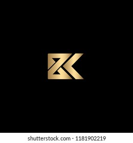 Modern Minimal Black and Gold Letter BK Iconic Logo Design Using Letters B and K