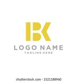 Modern Minimal Black and Gold Letter BK Iconic Logo Design Using Letters B and K , vector .