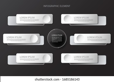 Modern minimal black infographics design element for business presentation. Glass elements. Transparent objects. Use for workflow step strategy and timeline. Vector illustration eps 10.
