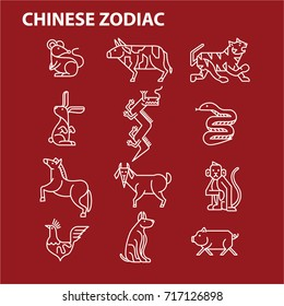 Modern minimal chinese zodiac sign line icon logo vector set cartoon graphic character horoscope design