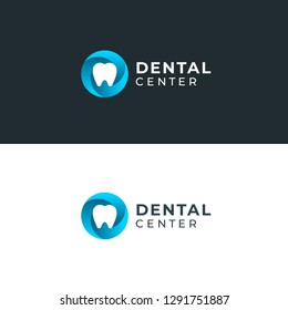 Modern minimal dentist logo design. Abstract circle swirl tooth icon logotype. Dental clinic vector sign mark icon.