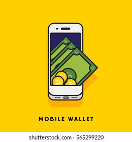 Modern minimal flat stroke digital wallet concept vector illustration. Mobile banking, online finance, e-commerce banner template. For mobile app, web, banner, poster, flyer, header, blog post.
