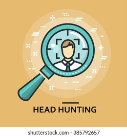 Modern minimal flat thin line head hunting concept vector illustration. Human resources, recruitment, employee banner template. For mobile app, web, banner, poster, flyer, header, blog post.