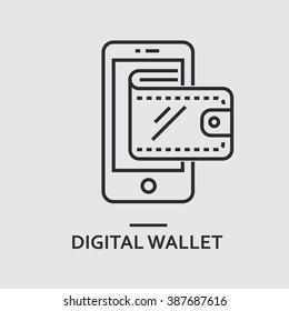 Modern minimal flat thin line digital wallet concept vector illustration. Mobile banking, online finance, e-commerce banner template. For mobile app, web, banner, poster, flyer, header, blog post.