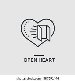 Modern minimal flat thin line open heart concept vector illustration. Charity, cardiology banner template. For mobile app, web, banner, poster, flyer, header, blog post.