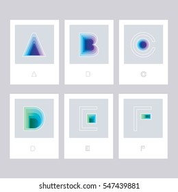Modern minimal futuristic colorful symbol letters, a, b, c, d, e and f isolated on white cards in blue and green color hues