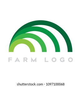 Modern Minimal Half Circle Lines Logo as Green Grass