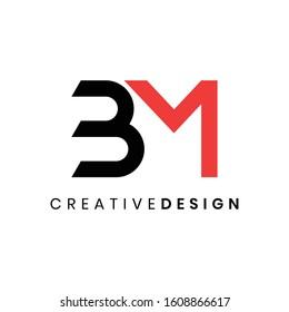 Modern minimal initial BM logo design vector