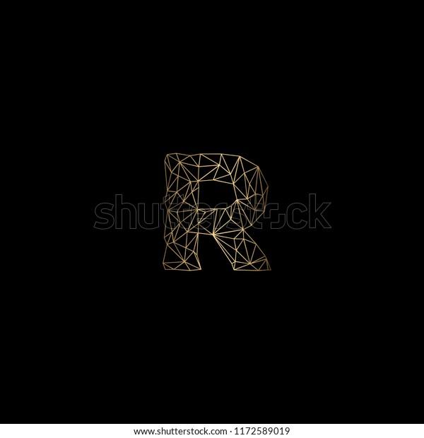 Modern Minimal Polygon Letter R Alphabet Stock Vector
