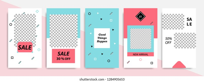 Modern minimal square Memphis shape template in pink, blue, turquoise, black and white color with frame. Business advertising template for social media stories, story, banner, flyer, and brochure.