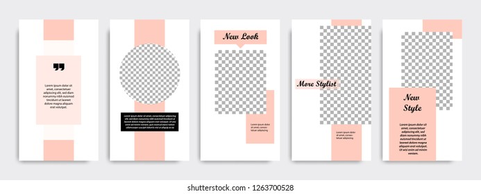 Modern minimal square shape template in pink and peach color. Corporate advertising template for social media stories, story, business banner, flyer, brochure in white background.