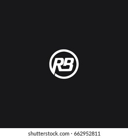 Modern minimal unique circular connected tech brands black and white color RB BR R B initial based letter icon logo.