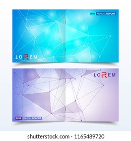 Modern minimal vector layout cover design templates for square brochure or flyer. Scientific concept for medical, technology, chemistry. Connecting dots and lines.