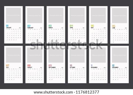 Modern Minimal Vertical Calendar Planner Template Stock Vector
