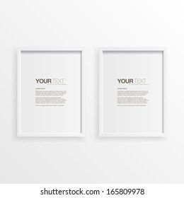 Modern minimal white frames on wall with your text  Eps 10 vector illustration