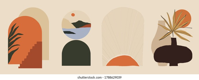 Modern minimalist abstract aesthetic illustrations. Bohemian style wall decor. Collection of contemporary artistic posters.