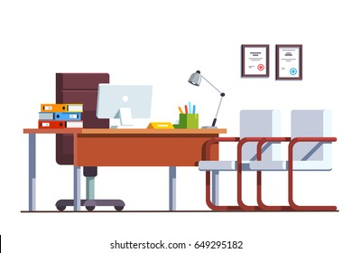 Modern minimalist boss office room interior design with computers on desktop. Director work place decoration & furniture. Flat style vector illustration isolated on white background.