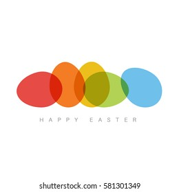 Modern minimalist colorful happy easter card with color eggs