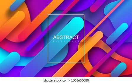 Modern minimalist cover design. Vector abstract banner with flowing dynamic gradient shapes. 3d layered paper poster. Business presentation or brochure template