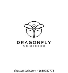 Modern minimalist illustration insect Dragonfly logo design with line art style