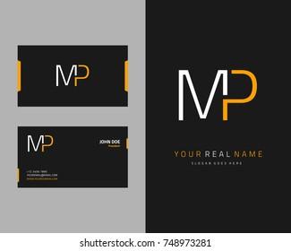 Modern minimalist initial M & P logo template vector