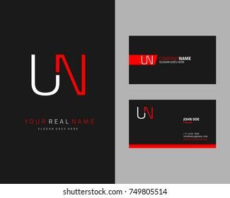 Modern minimalist initial U & N logo template vector