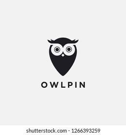 Modern minimalist logo of Owl Map Pin Location