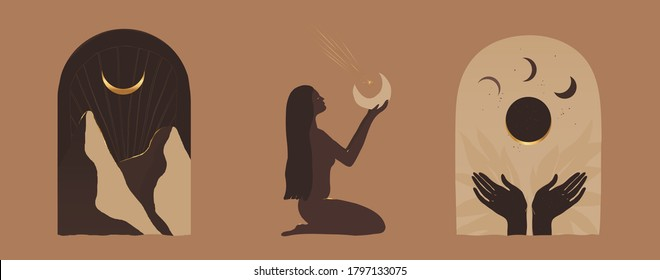 Modern minimalist mystical astrology aesthetic illustration. Beautiful bohemian print set. Collection of contemporary artistic posters.