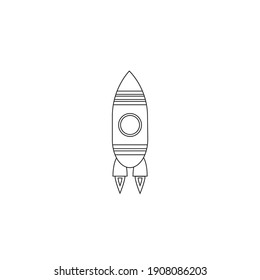 Modern Minimalist Rocket Line Icon Vector. Launch, rocket launch, startup, startup rocket outline icon for success concept. Spaceship isolated on white background. Can be used for web and mobile