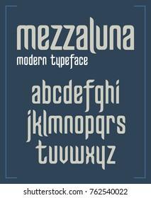 Modern minimalist sanserif font in narrow typeface format