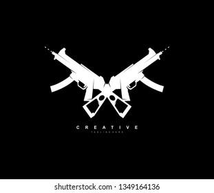 Modern Minimalist Stylish Two Gun Logo Design