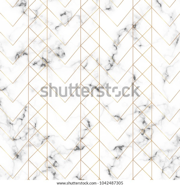 Modern minimalist white marble texture with gold geometric lines pattern. Background for designs banner, card, flyer, invitation, party, birthday, wedding, placard, magazine