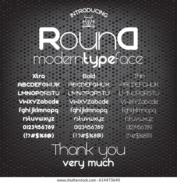 Modern Minimalistic Sans Serif Font Round Stock Vector