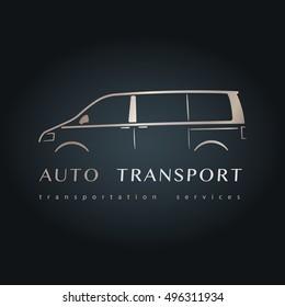 Modern minivan silhouette. Design microbus design. Vector illustration.