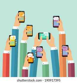 Modern mobile instant messenger chat poster with hands and smartphones vector illustration