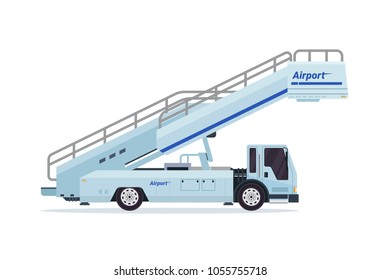 Modern Mobile Passenger Step Airport Ground Support Vehicle Transportation Illustration
