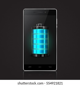Modern mobile phone with blue battery. Full charge with lighting. Touchscreen smartphone. Vector illustration.