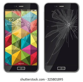 Modern mobile phone with broken glass - Illustration Realistic modern mobile phone with broken screen. Isolated on white. Shadow, screen, buttons, text etc. are on the own layers, easy to work with.
