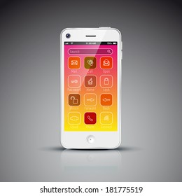 Modern mobile phone design concept template with flat user interface