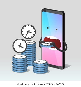 Modern mobile phone is eating stylized clocks with different time on clock faces. Concept of wasting time when using smartphone