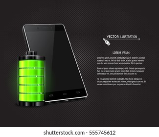 Modern mobile phone with green battery. Full charge with lighting. Touchscreen smartphone. Vector illustration.