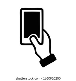 modern mobile phone, smartphone, held in right hand vertically silhouette, symbol, outline, vector illustration, in black and white color, isolated on white background