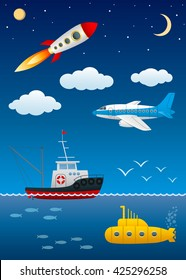 Modern modes of transport. Moving in various environments. Science and technology. Vector Image.