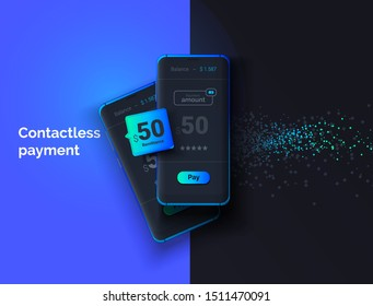 Modern money transfers. Contactless payment. Mobile phone on a black background with a payment system interface. Online money transfer. Modern vector illustration.