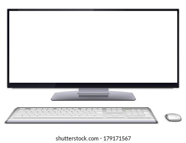 Modern monoblock desktop computer with blank white screen, silver wireless mouse and keyboard. Vector illustration, isolated on white background.