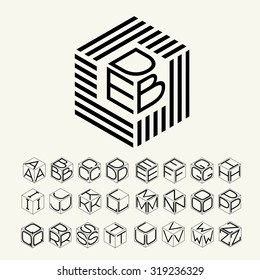 Modern monogram cube, hexagon of the strips, and three letters inscribed. Plus a set of letters to create the logo.