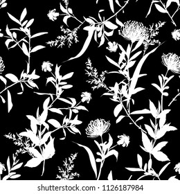 Modern monotone black and white color modern mood silhouette botanical florals with contrast outline seamless pattern vector for fashion fabric and all prints