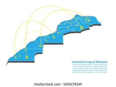 Modern of morocco Map connections network design, Best Internet Concept of morocco map business from concepts series, map point and line composition. Infographic map. Vector Illustration.