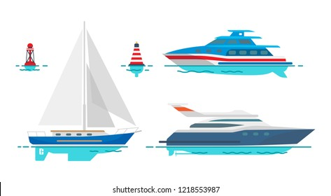 Modern motor yacht, white sailboat and small striped buoys isolated vector illustrations set on white background. Luxury vessels out in sea.